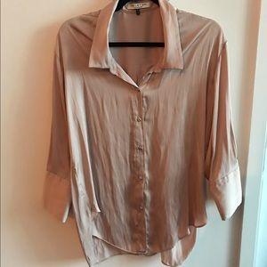Halston Mauve/Nude satin button down shirt